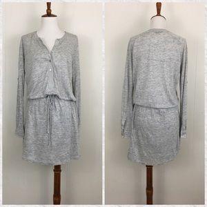 Vince Linen Long Sleeve Drawstring Henley Dress
